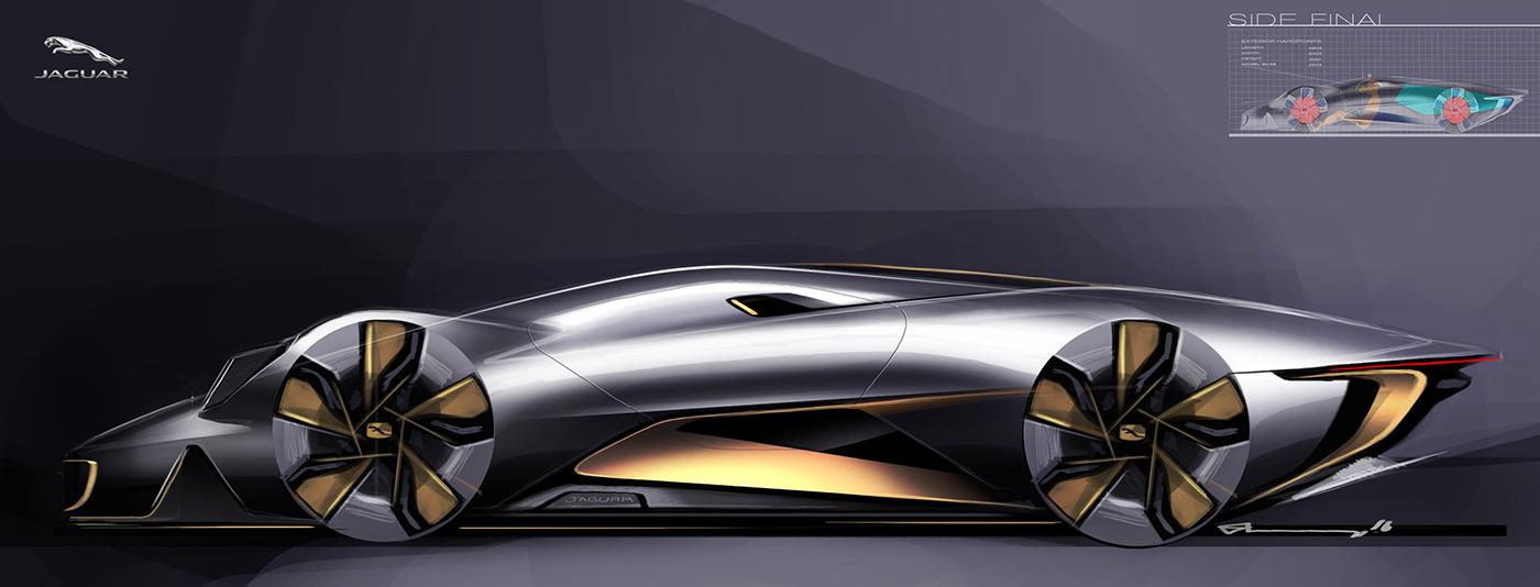 捷豹C-X100跑车概念设计手绘稿图