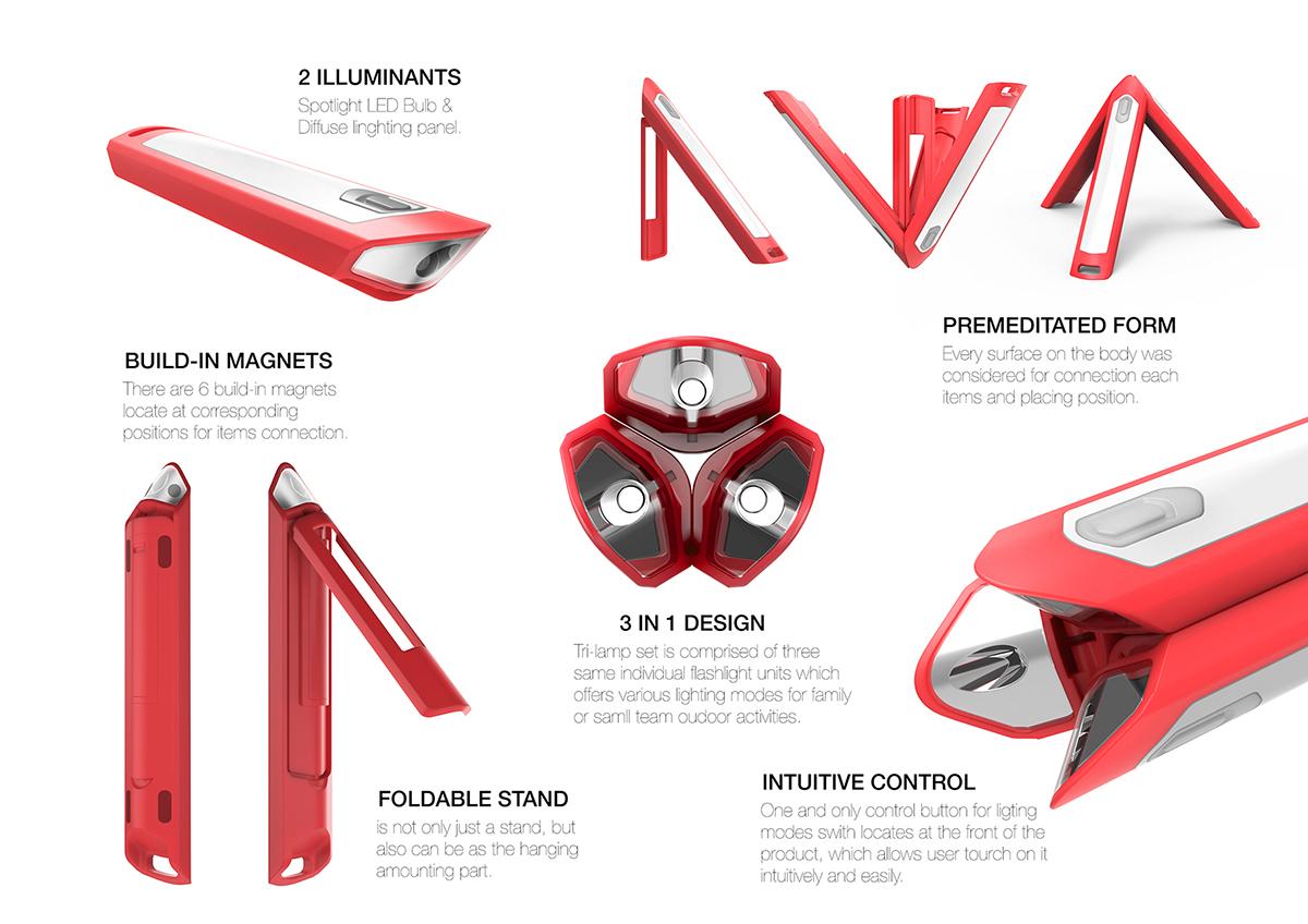 红点奖连体三胞胎手电筒设计