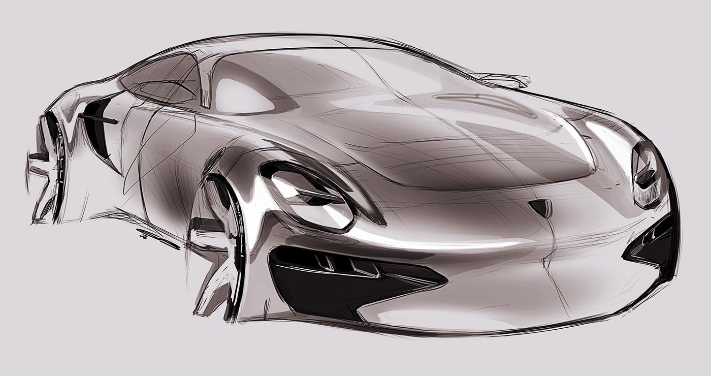 汽车设计手绘稿图